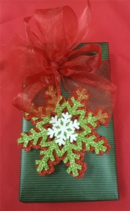 7 oz. Assorted Chocolates Fancy Green Wrapped With Snowflake Decoration