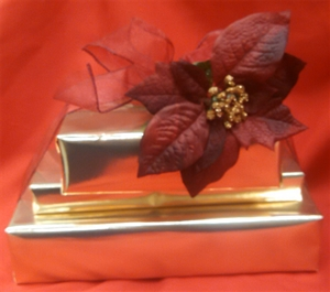 Gold Medium Three Tier Wrapped Package