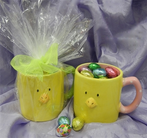Chick Mug With Foil Wrapped Milk Chocolate Eggs