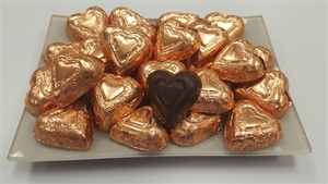 8 oz. Bronze Foil Wrapped Semi-sweet Chocolate Hearts
