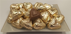 8 oz. Gold Foil Wrapped Milk Chocolate Hearts