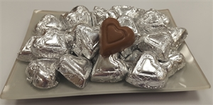 8 oz. Silver Foil Wrapped Milk Chocolate Hearts