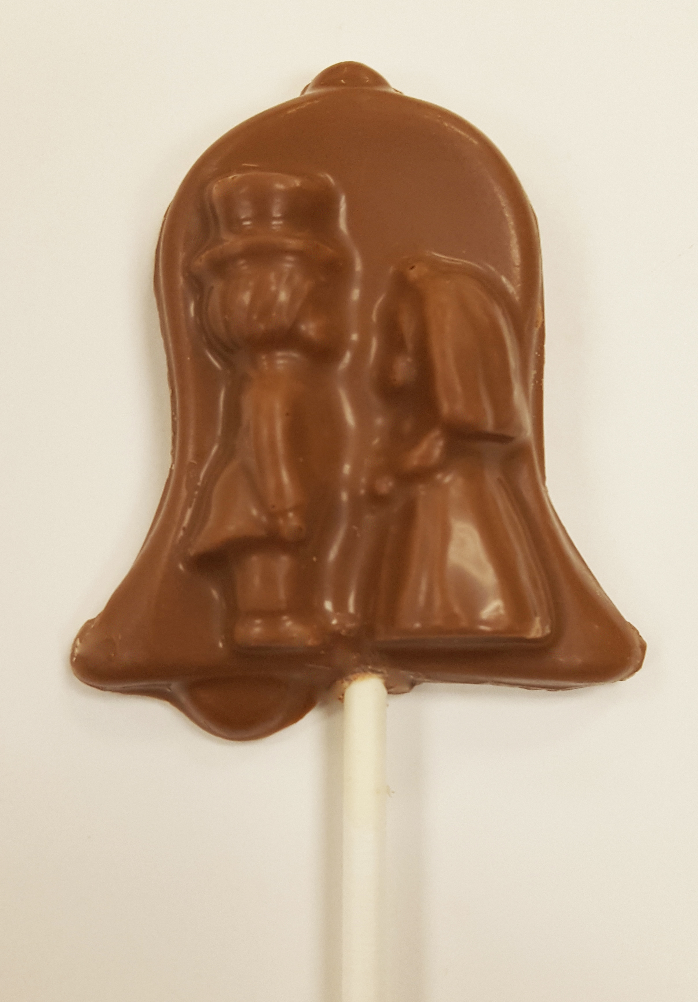 1 oz. Milk Chocolate Bell with Bride and Groom Sucker