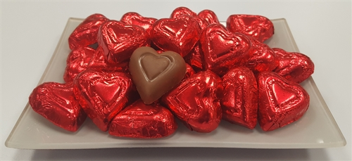 8 oz. Red Foil Wrapped Milk Chocolate Hearts