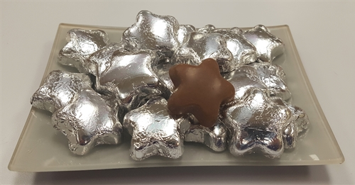 8 oz. Silver Foil Wrapped Milk Chocolate Stars